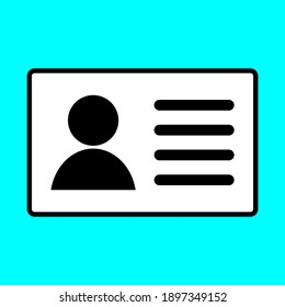 ID card icon isolated on blue background