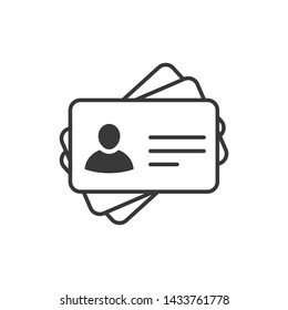 Id card icon template black color editable. Identification card  symbol style vector sign isolated on white background. Simple logo vector illustration for graphic and web design.