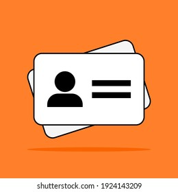 ID card icon. white driver license, staff identification card symbol isolated on orange color background. vector illustration