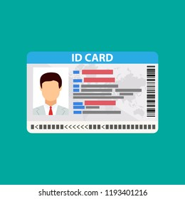 Id card. identity card, national id card, id card with electronic chip. vector illustration in flat design