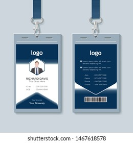 Id card with lanyard set isolated vector illustration. Blank plastic access card, name tag holder with pin ribbon, corporate card key, personal security badge, press event pass template. - Vector.