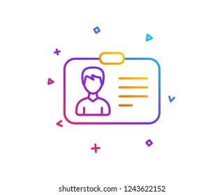 ID card line icon. User Profile sign. Male Person silhouette symbol. Identification plastic card. Gradient line button. Identification card icon design. Colorful geometric shapes. Vector