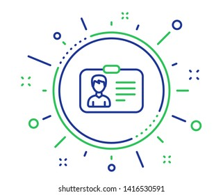 ID card line icon. User Profile sign. Male Person silhouette symbol. Identification plastic card. Quality design elements. Technology identification card button. Editable stroke. Vector