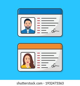 ID Card With Male And Female Photo Vector Icon Illustration. The Idea Of Personal Identity