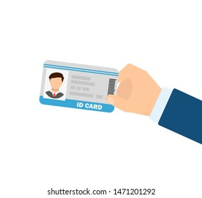 id card in man's hand in flat style