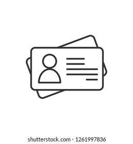 Id card outline icon. linear style sign for mobile concept and web design. Identification card simple line vector icon. Symbol, logo illustration. Pixel perfect vector graphics.