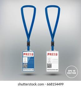 id card press with lanyard set. vector illustration