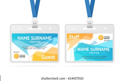 Id Card Template Plastic Badge with Abstract Geometric Bubble Speech. Vector illustration of two cards