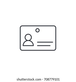 ID card thin line icon. Linear vector illustration. Pictogram isolated on white background
