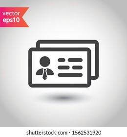ID card vector icon. Identification card flat sign. EPS 10 ID card pictogram sign design. Member card symbol. VIP person icon