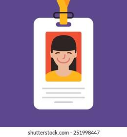Id card. Vector illustration. Flat design style