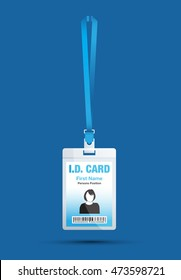 id card woman blue