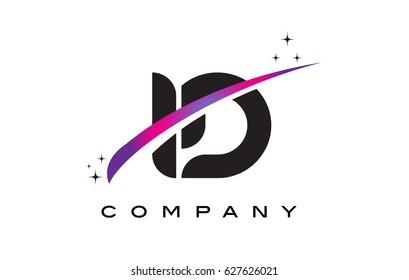 ID I D Black Letter Logo Design with Purple Magenta Swoosh and Stars.