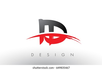 ID I D Brush Logo Letters Design with Red and Black Colors and Brush Letter Concept.