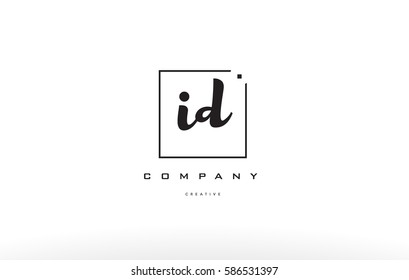 id i d hand writing written black white alphabet company letter logo square background small lowercase design creative vector icon template