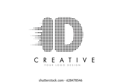 ID I D Letter Logo Design with Black Dots and Bubble Trails.