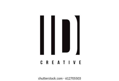 ID I D White Letter Logo Design with Black Square Vector Illustration Template.