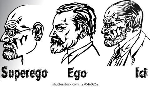 Id, ego, and super-ego - the three parts of the psychic apparatus in Sigmund Freud's structural model of the psyche.