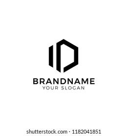 ID initial letters loop linked hexagonal logo design