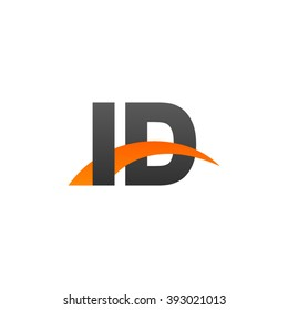 ID initial overlapping swoosh letter logo black orange