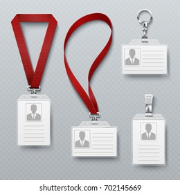Id security cards and identification badge with lanyard vector set. Template of id card for identification, plastic badge illustration