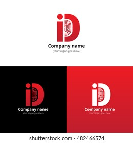 ID vector logo with Fingerprint template. The red letter i and d with fingerprint icon. Logotype design for personal identification company or service. Personalization logo. Sign of identification