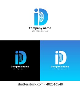 ID vector logo with Fingerprint template. The blue letter i and d with fingerprint icon. Logotype design for personal identification company or service. Personalization logo. Sign of identification