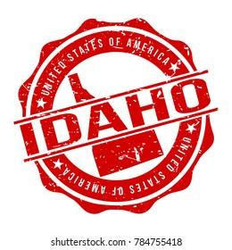 Idaho America Original Stamp Design Vector Art Tourism Souvenir Round