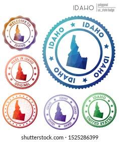 Idaho badge. Colorful polygonal us state symbol. Multicolored geometric Idaho logos set. Vector illustration.