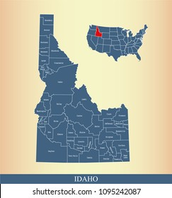 Idaho county map with names labeled. Idaho state of USA map vector outline