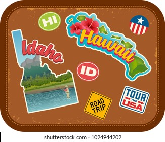 Idaho and Hawaii travel stickers with scenic attractions and retro text on vintage suitcase background