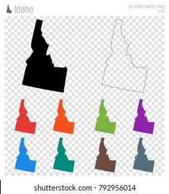Idaho high detailed map. Us state silhouette icon. Isolated Idaho black map outline. Vector illustration.