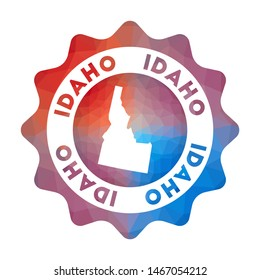 Idaho low poly logo. Colorful gradient travel logo of the us state in geometric style. Multicolored polygonal Idaho rounded sign with map for your infographics.