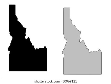 Idaho map. Black and white. Mercator projection.