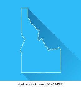 Idaho map with long shadow and white outline on blue background. Blue map in a flat design style. Vector illustration, easy to edit.