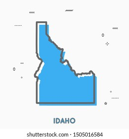 Idaho map Memphis style thin line vector. Idaho infographic map icon with small thin line geometric figures. Idaho state. Vector illustration linear modern concept