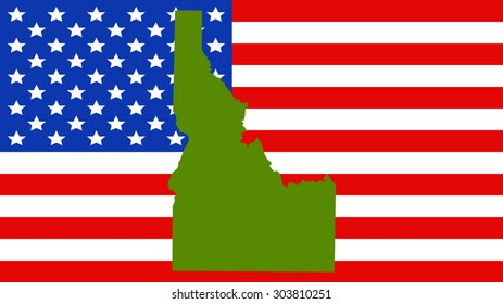 idaho map on a vintage american flag background