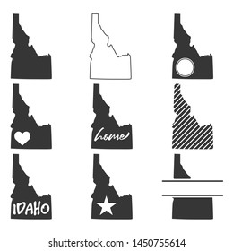 Idaho Map. Symbol Icon Set. Flat Vector Art Design. Clip Art Logo Collection.