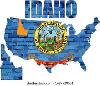 Idaho on a brick wall - Illustration, Font with the Idaho flag