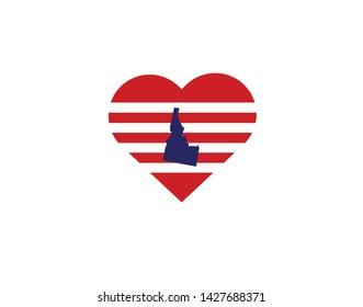 Idaho outline map USA state symbol United States shape decoration stripes