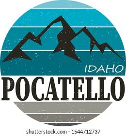 Idaho Pocatello United States vector illustrations shirt design logo