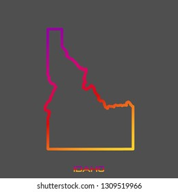 Idaho purple red yellow fluid gradient outline map, stroke. Line style. Vector illustration