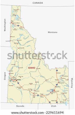 Idaho Road Map Stock Vector Royalty Free 229611694 Shutterstock