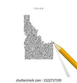 Idaho sketch scribble map isolated on white background. Hand drawn vector map of Idaho. Realistic 3D pencil.