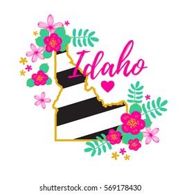 Idaho State Map Creative Vector Typography Lettering Composition with flowers. Design Concept