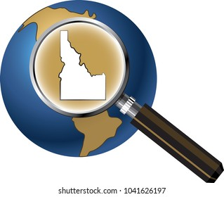 Idaho State Map Enlarged with Magnifying Glass on Globe