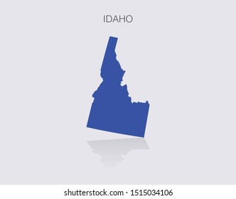 Idaho State Map Outline for infographics or news media for politics and elections in the United States of America. Democrat blue isolated vector illustration.