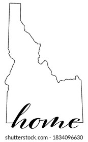 Idaho state map outline with the word home written in the outline, vector graphic on white background