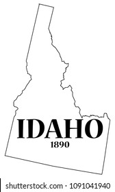 An Idaho state outline with the date of statehood isolated on a white background