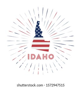 Idaho sunburst badge. The us state sign with map of Idaho with American flag. Colorful rays around the logo. Vector illustration.